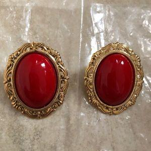 Vintage red/gold earrings